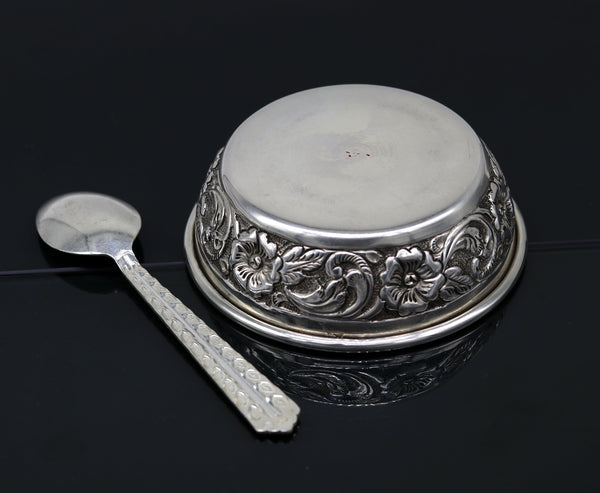 925 sterling silver handcrafted work solid silver bowl and spoon, silver has antibacterial properties, stay healthy, silver vessels sv74
