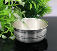 Plain design handmade 999 solid silver bowl, silver vessels, silver utensils, solid silver baby bowl for medical use for health gifting sv80