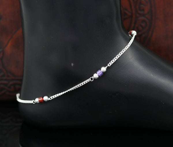 "10"" 925 sterling silver handmade customized curb chain ankle bracelet, anklets, excellent beaded charm anklet tribal belly dance nank233"