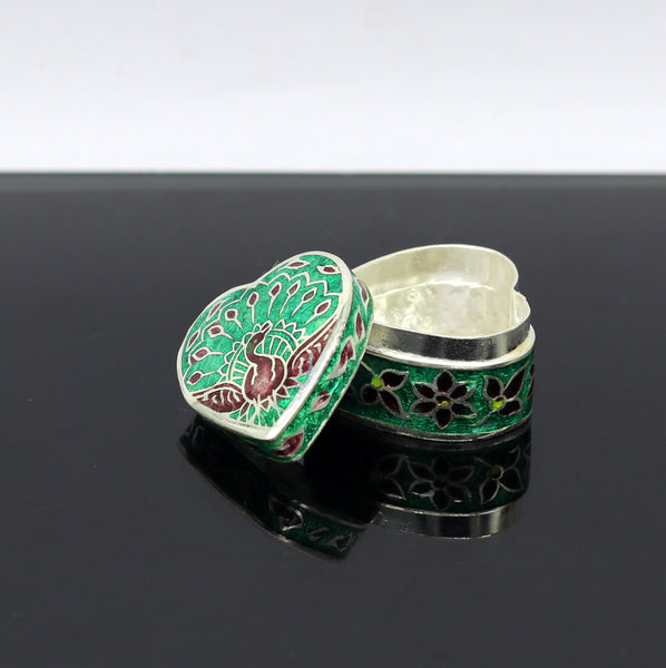 925 Sterling silver trinket box, gorgeous heart shape dancing peacock design enamel work casket box, silver utensils  arts article stb34