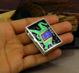 Rectangular shape 925 sterling silver elephant enamel work customize trinket, jewelry box, pills box, silver articles brides gift stb18