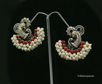 925 sterling silver handmade gorgeous peacock design stud earring with gorgeous red and pearl stone customized earring tribal jewelry s859