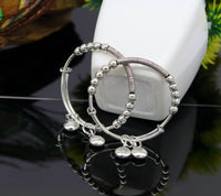 925 sterling silver handmade beaded design adjustable baby bangle bracelet, hangings charm bangles unisex personalized kids jewelry bbk75