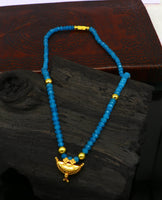 "18"" faceted blue color beaded necklace, 20kt yellow gold amulet stylish pendant, vintage customized brides gift tribal ethnic jewelry ap07"