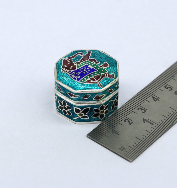 925 Sterling silver trinket box, jewelry box, earring ring box, small box, casket box, silver container, enamel work sindoor box stb36