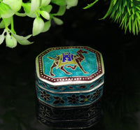 925 sterling silver handmade enamel work trinket box, pills casket box, silver utensils arts article, brides gifts, jewelry box stb41