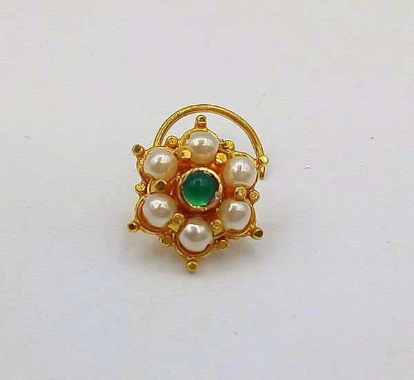 20k yellow gold handmade fabulous green stone pearl nose pin excellent antique vintage design tribal jewelry gnp20