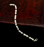 "925 sterling silver handmade 5.5 mm round beads balls pearl bracelet, fabulous customized 7.5""long beaded bracelet stylish gift sbr212"