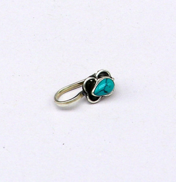 925 sterling silver customized design turquoise nose pin, clip on nose pin, un piercing nose pin, plug ,best Bollywood stylish jewelry np95