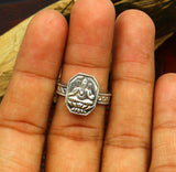 Elegant vintage design customized Lord Ganesha adjustable 925 sterling silver ring band, best gif to her/ him, tribal jewelry ring255