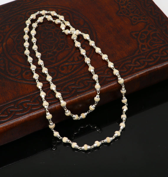 "925 sterling silver customized basil rosary wooden beads solid chain necklace, excellent 24"" unisex stylish necklace from india ch103"
