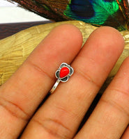 Modern trendy stylish 925 sterling silver customized single coral nose pin, best gift nose plug, clip-on nose pin, fabulous party wear np109