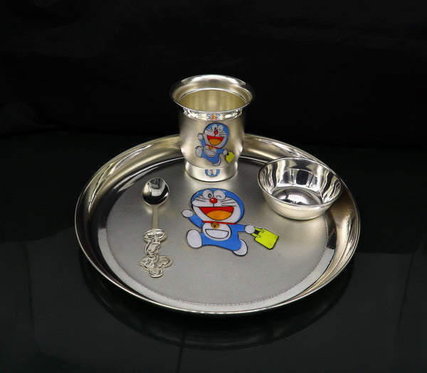 925 fine silver combo bowl, spoon ,Water/milk tumbler and plate/tray, silver baby dinner set utensils, best gifting utensils ideas sv131
