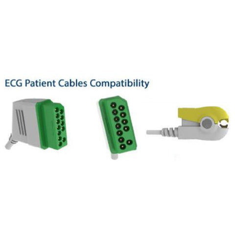 ECG Trunk Cable, 3 lead, Eight pole yoke End, grabber patient End, IEC color code E207-3090/GI - Scorpiamedimart