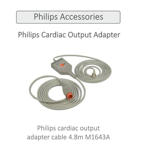 Philips cardiac output adapter cable 4.8m M1643A - Scorpiamedimart