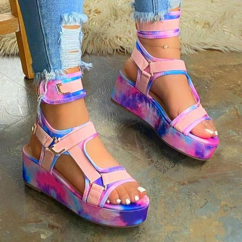 Solespairs Women Multicolor Open Toe Velcro Platform Sandals