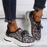 Solespairs Casual Fashion Synthetic Animal Print Lace-Up Sneakers