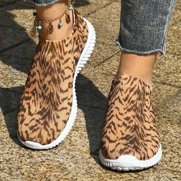 Solespairs Casual Athletic Flyknit Fabric Animal Print Slip On Sneakers