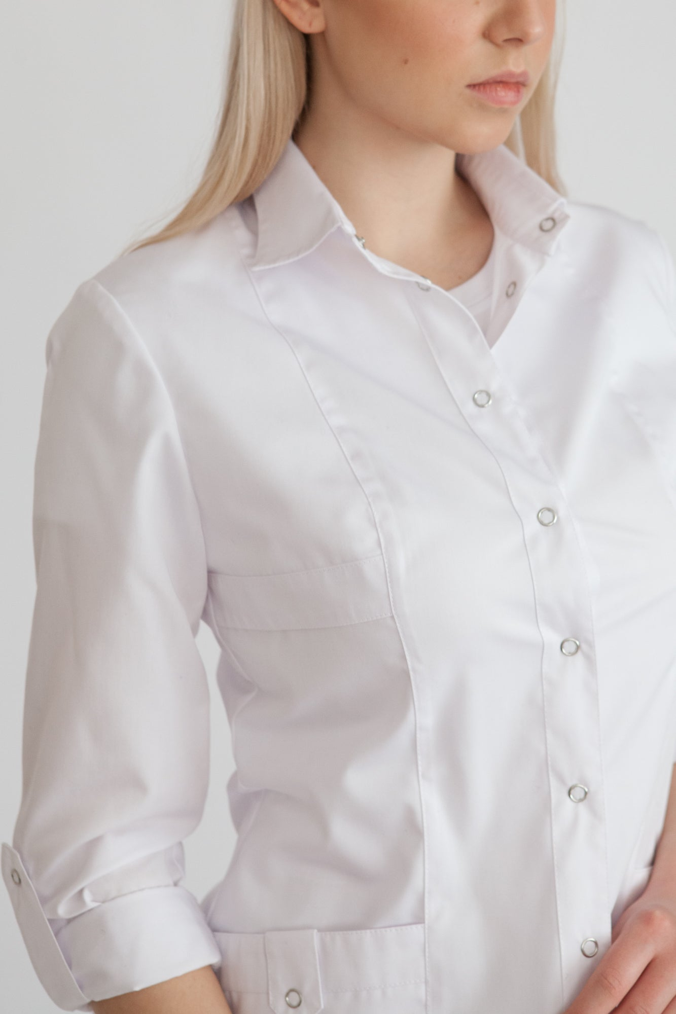 <transcy>Medical Blouse with buttons &quot;Coquette&quot;</transcy>