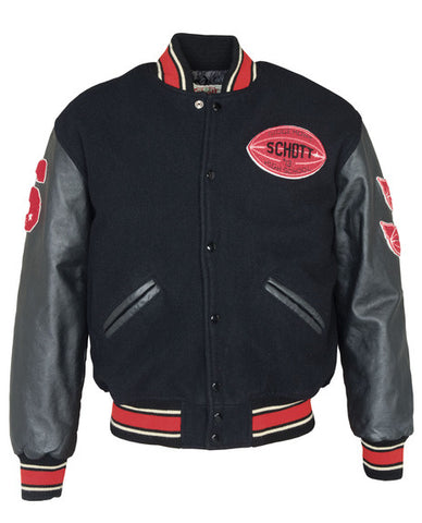Schott NYC Vintaged wool blend varsity jacket Black