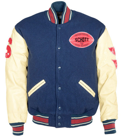Schott NYC Vintaged wool blend varsity jacket Navy