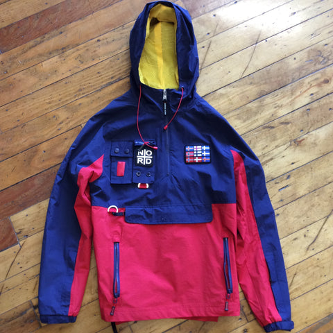 Nordic down jacket red and dark blue
