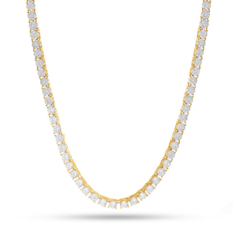 King Ice 5mm One Row 14k yellow gold plated Round CZ chain