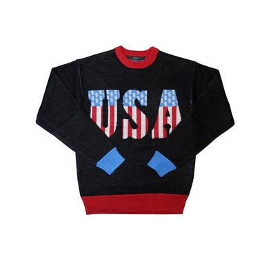Joyrich USA Knit Crewneck in Black, Sweatshirts for Men
