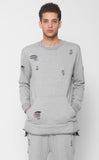 ENTREE LS HYSTERIA DISTRESSED GRAY CREWNECK