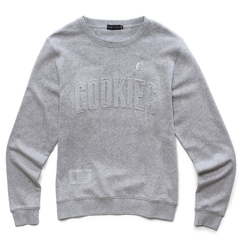 Cookies Crop Duster French Crewneck Embossed Logo Gray