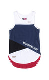 USA Color Block Cut And Sewn Panel Tank Blue