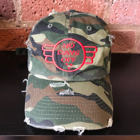 NO DAYS OFF Vintage Dad Hat Army Fatigue/Red