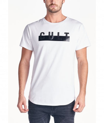 Cult Of Individuality scoop bottom crew tee in white