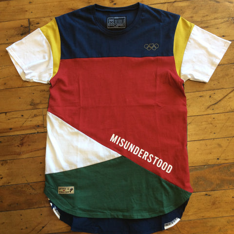 Entree misunderstood Olympic color block panel tee