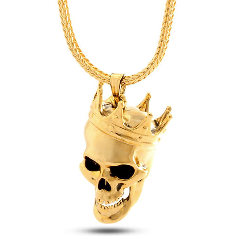 Gold 3D Skull King Necklace