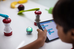 Young boy coding Sphero Mini on his tablet through salt and pepper grinder.