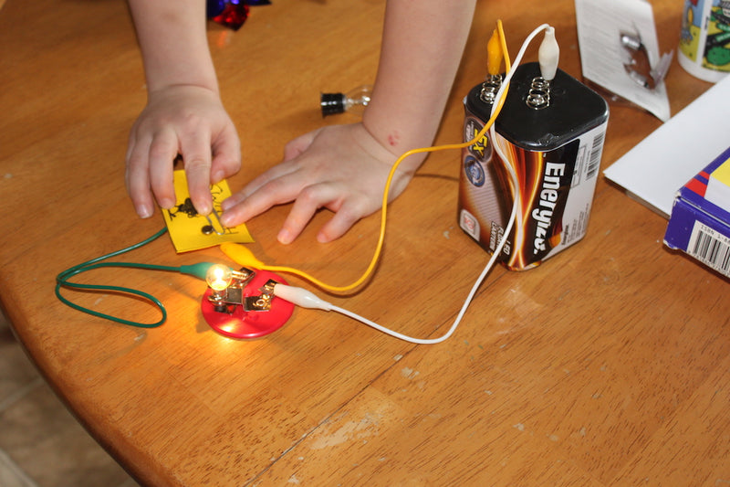 9- Volt battery attached to different circuits.