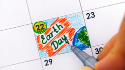 An Earth Day illustration on April 22 on a calendar.