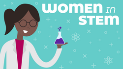An illustration of a female scientist on a teal printed background.