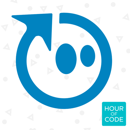 Sphero head with Hour of Code logo.