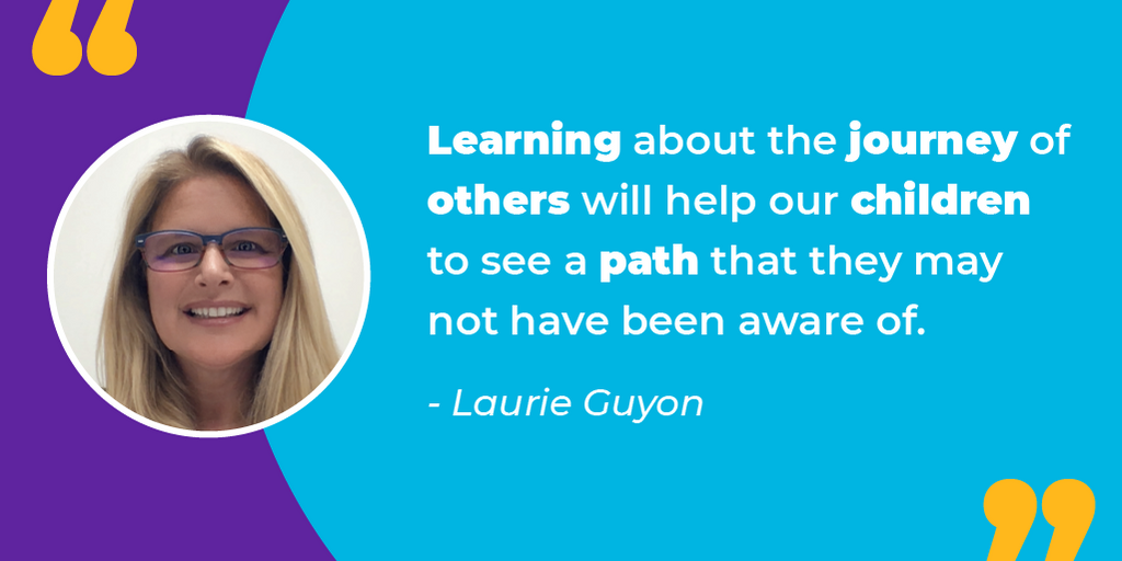A quote from Laurie Guyon, Sphero Hero and educator, on setting a good example of children who are learning about STEM careers.