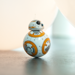 BB-8 robot toy on top of counter.