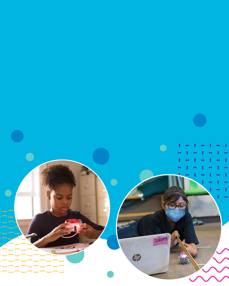 Girl in classroom wearing mask while doing an activity with a STEAM robot. Image of girl learning with littleBits at home.