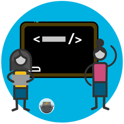 Illustration of student and teacher next to chalk board with code written on it.