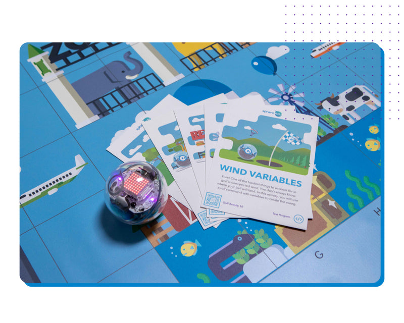 Sphero BOLT on Sphero Code Map with activity cards.