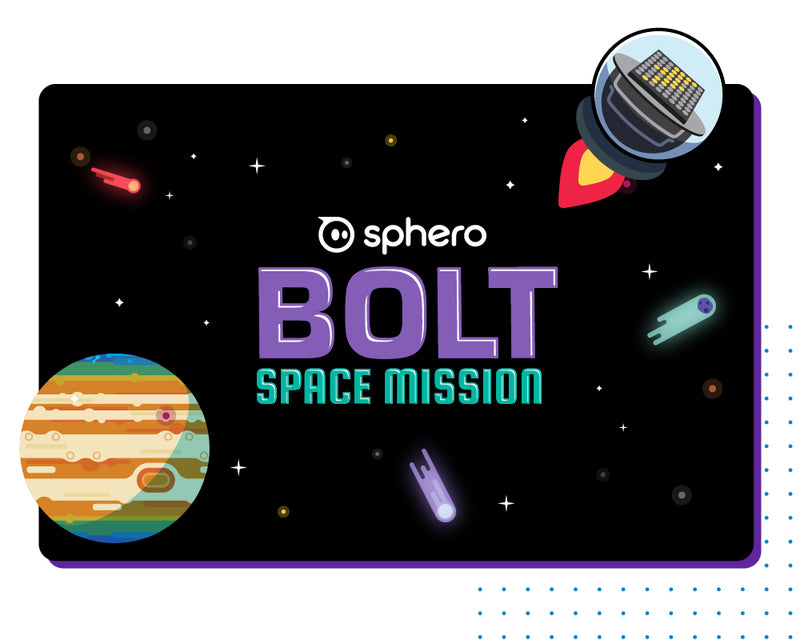 BOLT: Space Mission logo with robot spacecraft illustration and commits and Jupiter.