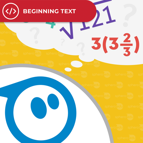 Illustration of Sphero robot thinking about math equations.