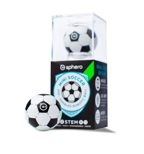 A Sphero Mini Soccer in plastic retail packaging on white background.