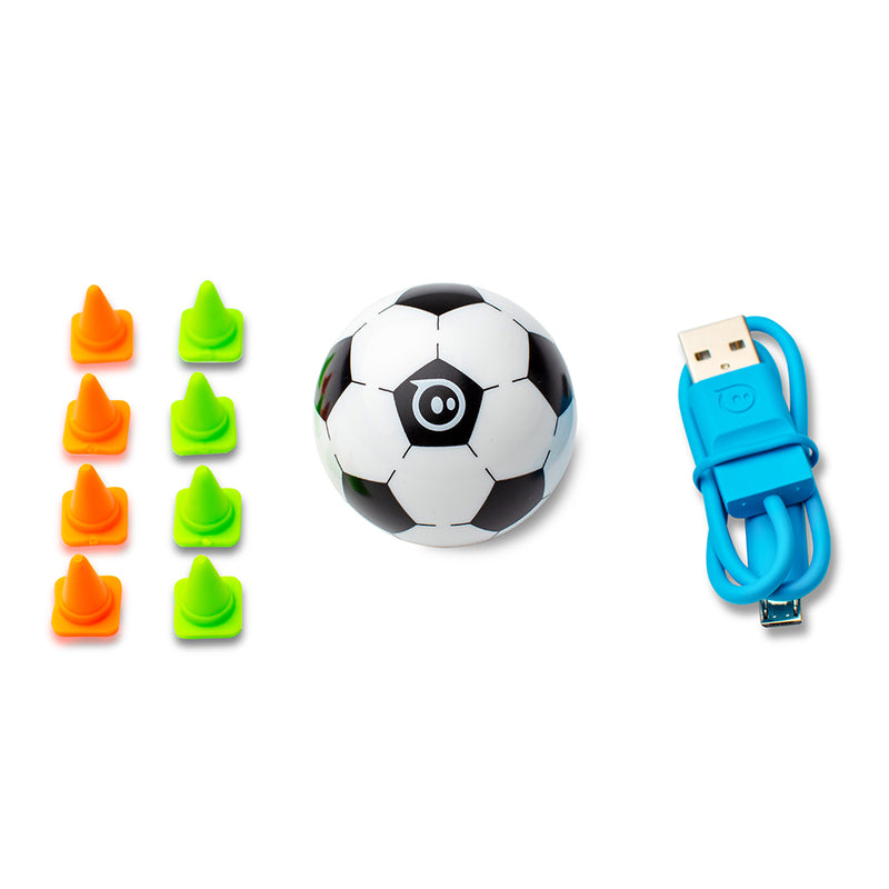 Mini cones, mini soccer, and a mini charger displayed next to each other on a white background.