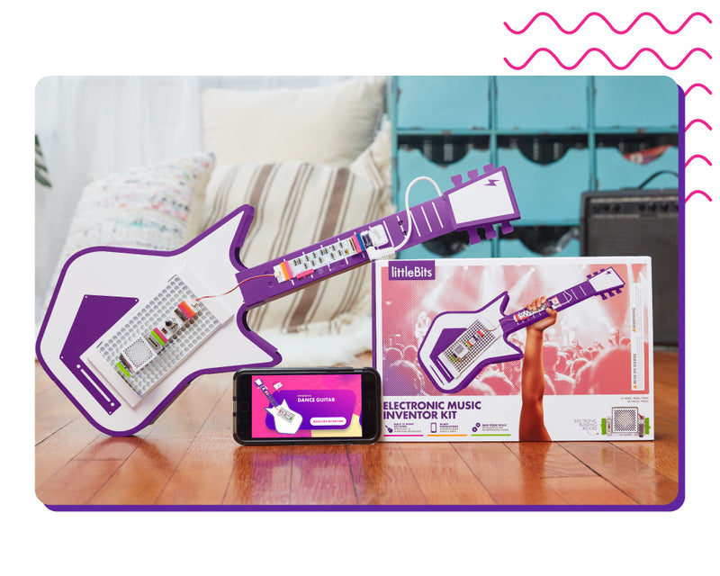 littleBits Electronic Music Kit package, electronic guitar, and phone with the Inventor App.